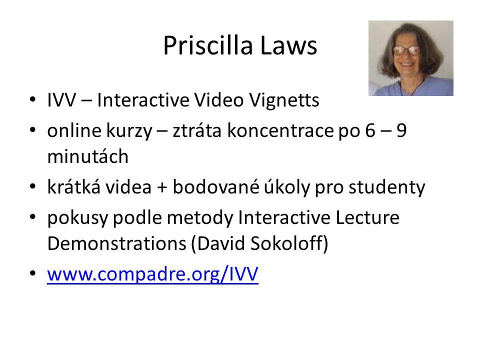 Priscilla Laws IVV – Interactive Video Vignetts online kurzy – ztráta koncentrace po 6 – 9 minutách krátká videa + bodované úkoly pro studenty pokusy podle metody Interactive Lecture Demonstrations (David Sokoloff) www.compadre.org/IVV