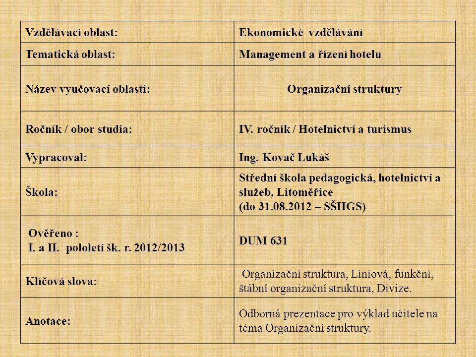 Vzdělávací oblast:Ekonomické vzdělávání Tematická oblast:Management a řízení hotelu Název vyučovací oblasti:Organizační struktury Ročník / obor studia