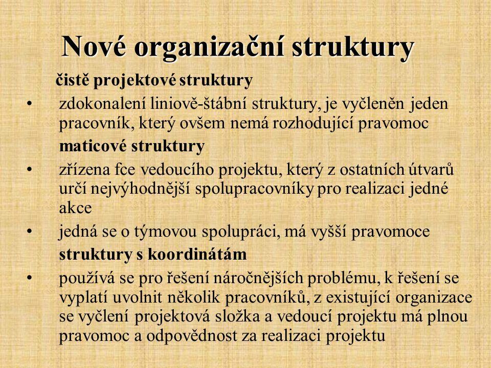 Nové organizační struktury čistě projektové struktury zdokonalení liniově-štábní struktury, je vyčleněn jeden pracovník, který ovšem nemá rozhodující