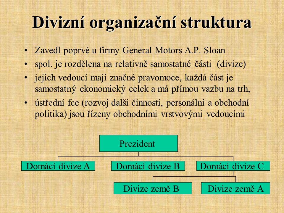 Divizní organizační struktura Zavedl poprvé u firmy General Motors A.P. Sloan spol. je rozdělena na relativně samostatné části (divize) jejich vedoucí