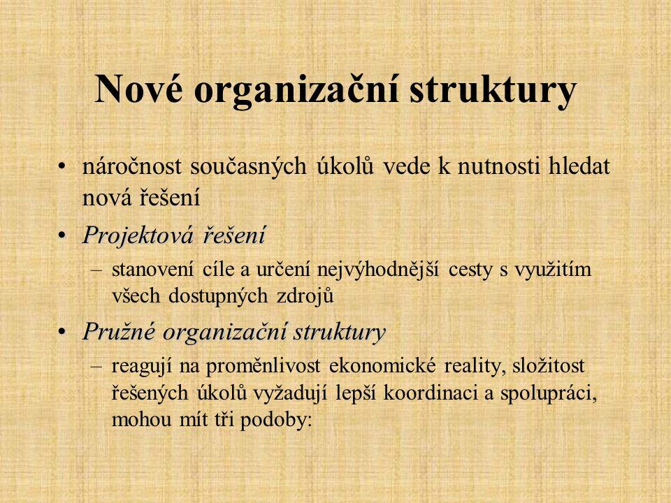 Nové organizační struktury čistě projektové struktury zdokonalení liniově-štábní struktury, je vyčleněn jeden pracovník, který ovšem nemá rozhodující pravomoc maticové struktury zřízena fce vedoucího projektu, který z ostatních útvarů určí nejvýhodnější spolupracovníky pro realizaci jedné akce jedná se o týmovou spolupráci, má vyšší pravomoce struktury s koordinátám používá se pro řešení náročnějších problému, k řešení se vyplatí uvolnit několik pracovníků, z existující organizace se vyčlení projektová složka a vedoucí projektu má plnou pravomoc a odpovědnost za realizaci projektu