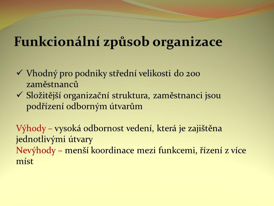 Funkcionální způsob organizace Vhodný pro podniky střední velikosti do 200 zaměstnanců Složitější organizační struktura, zaměstnanci jsou podřízení odborným útvarům Výhody – vysoká odbornost vedení, která je zajištěna jednotlivými útvary Nevýhody – menší koordinace mezi funkcemi, řízení z více míst