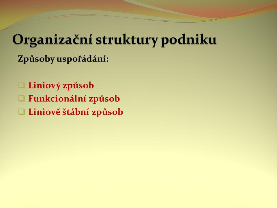 Liniový způsob organizace Nejjednodušší organizační struktura Vhodný pro podniky s malým počtem zaměstnanců (max.