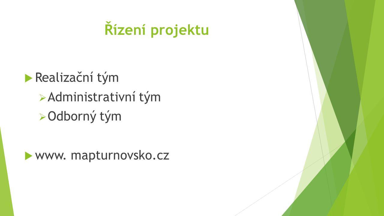 Řízení projektu  Realizační tým  Administrativní tým  Odborný tým  www. mapturnovsko.cz