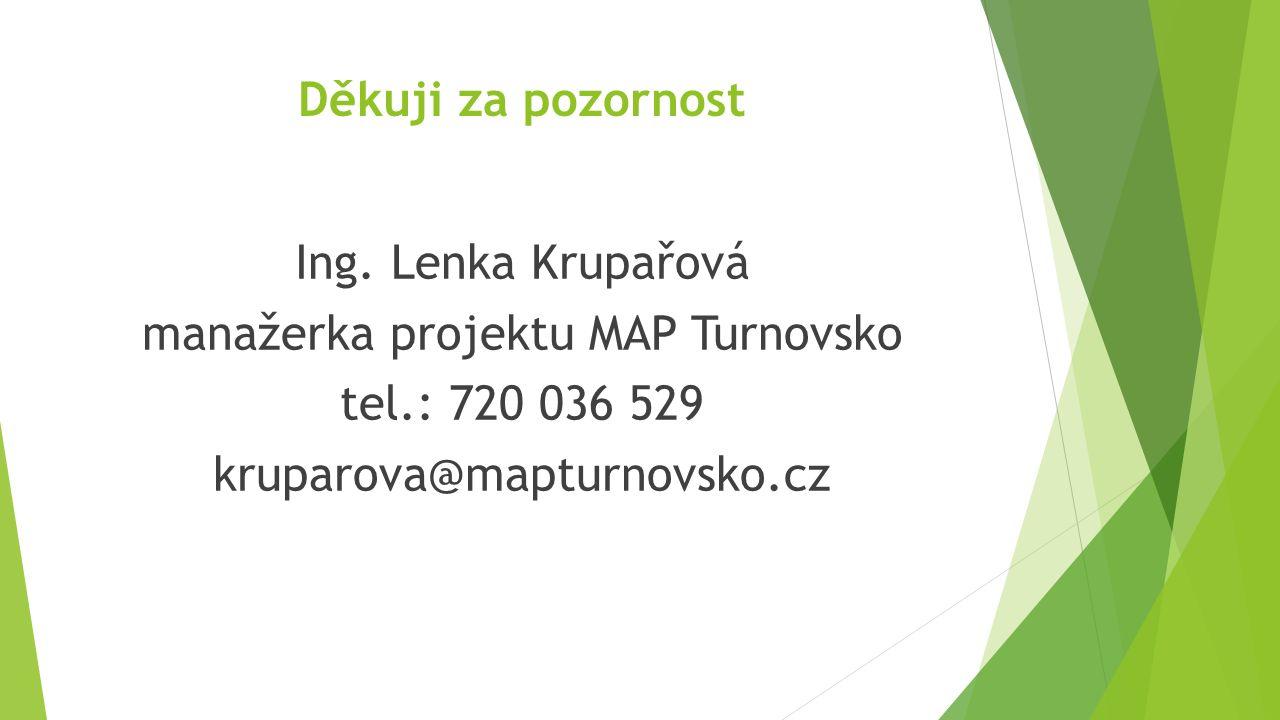 Děkuji za pozornost Ing. Lenka Krupařová manažerka projektu MAP Turnovsko tel.: 720 036 529 kruparova@mapturnovsko.cz