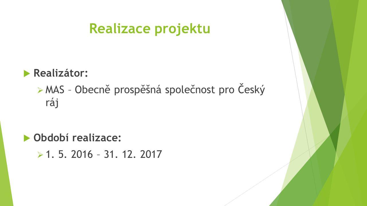 Realizace projektu  Realizátor:  MAS – Obecně prospěšná společnost pro Český ráj  Období realizace:  1.