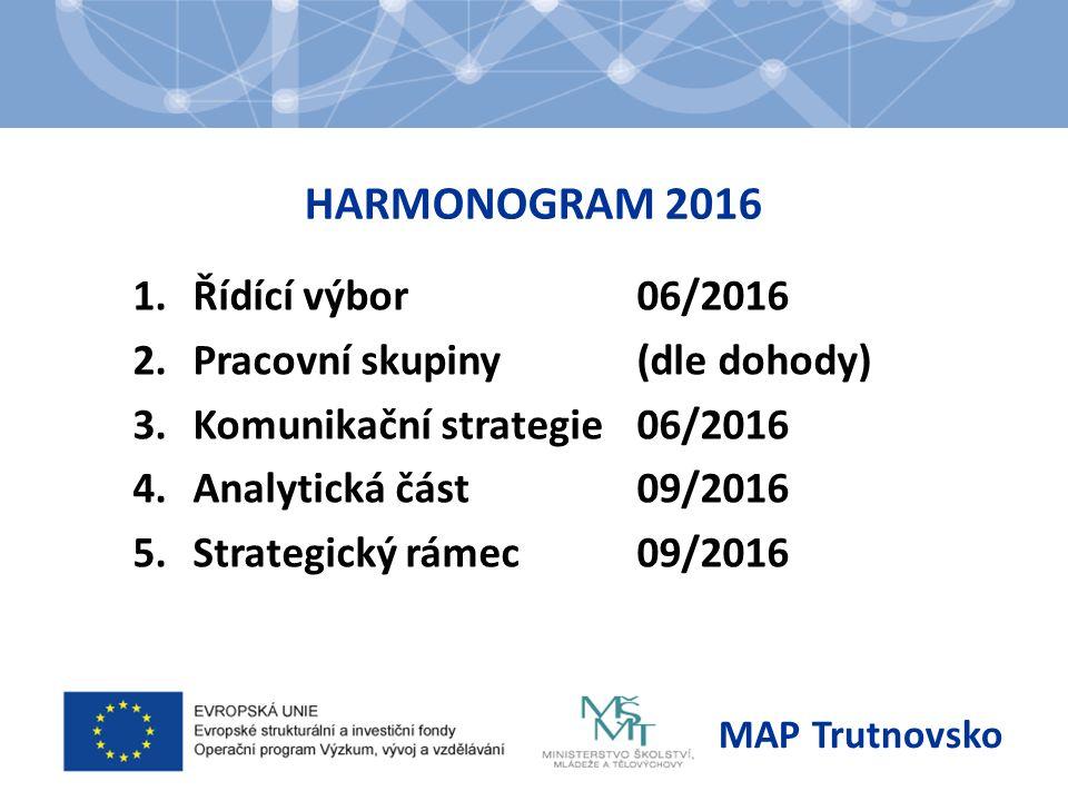 HARMONOGRAM 2016 1.Řídící výbor06/2016 2.Pracovní skupiny(dle dohody) 3.Komunikační strategie06/2016 4.Analytická část09/2016 5.Strategický rámec09/2016 MAP Trutnovsko