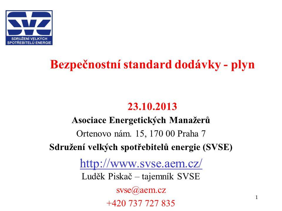 1 Bezpečnostní standard dodávky - plyn 23.10.2013 Asociace Energetických Manažerů Ortenovo nám. 15, 170 00 Praha 7 Sdružení velkých spotřebitelů energ
