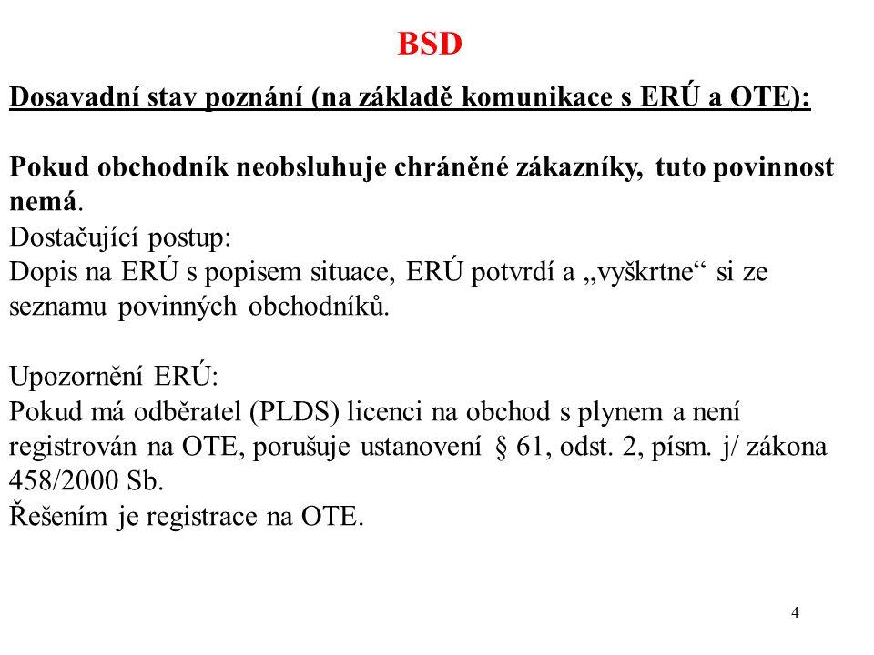 4 BSD Dosavadní stav poznání (na základě komunikace s ERÚ a OTE): Pokud obchodník neobsluhuje chráněné zákazníky, tuto povinnost nemá. Dostačující pos