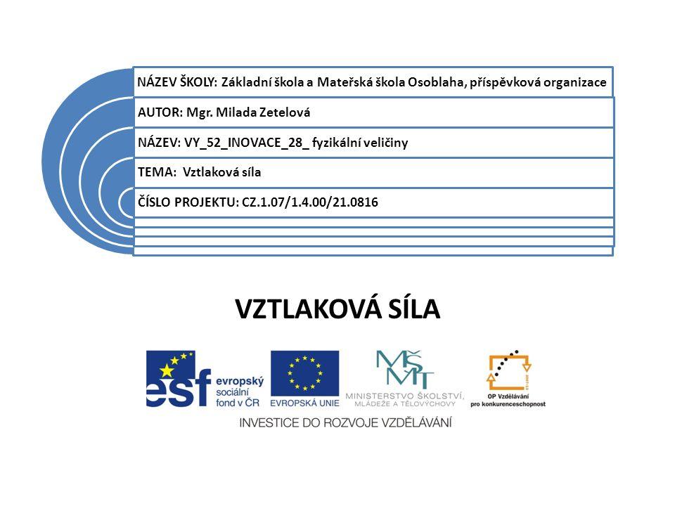 VZTLAKOVÁ SÍLA Datum vytvoření projektuBŘEZEN 2012 Ročník7.