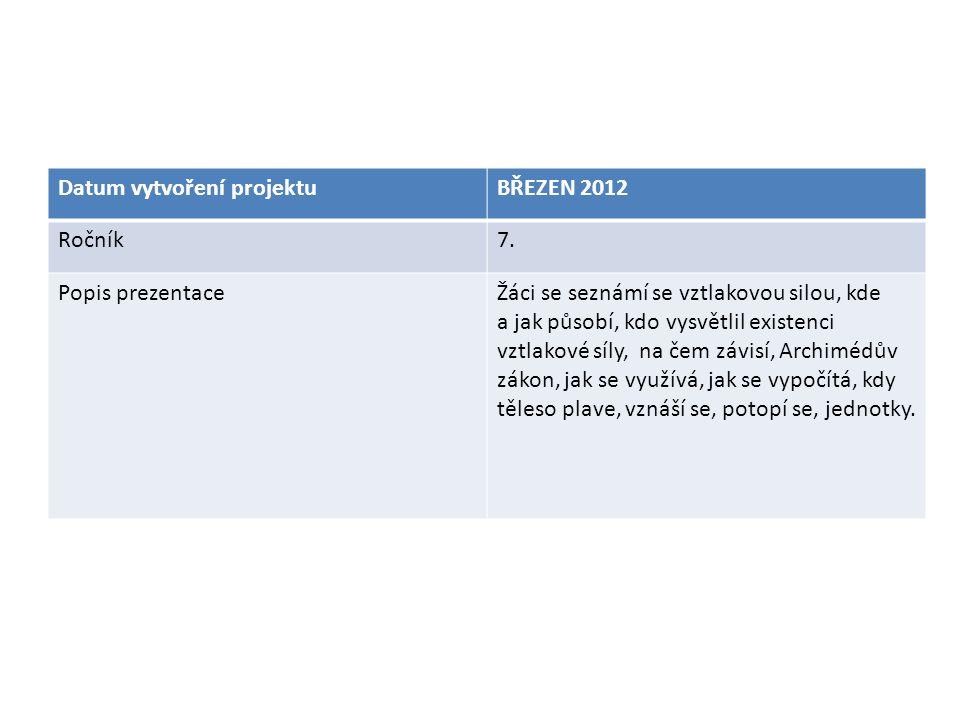 VZTLAKOVÁ SÍLA Datum vytvoření projektuBŘEZEN 2012 Ročník7. Popis prezentaceŽáci se seznámí se vztlakovou silou, kde a jak působí, kdo vysvětlil exist