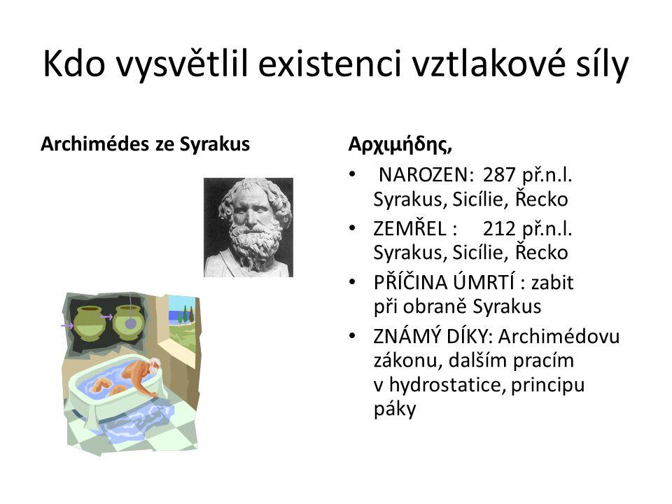 Archimédův zákon Těleso ponořené do kapaliny je nadlehčováno silou, rovnající se tíze kapaliny stejného objemu jako je ponořená část tělesa.
