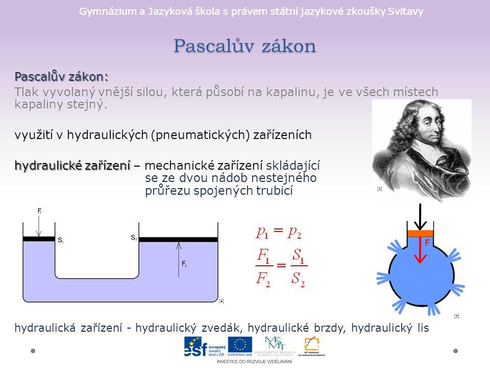 Gymnázium a Jazyková škola s právem státní jazykové zkoušky Svitavy Pascalův zákon Pascalův zákon: Tlak vyvolaný vnější silou, která působí na kapalinu, je ve všech místech kapaliny stejný.
