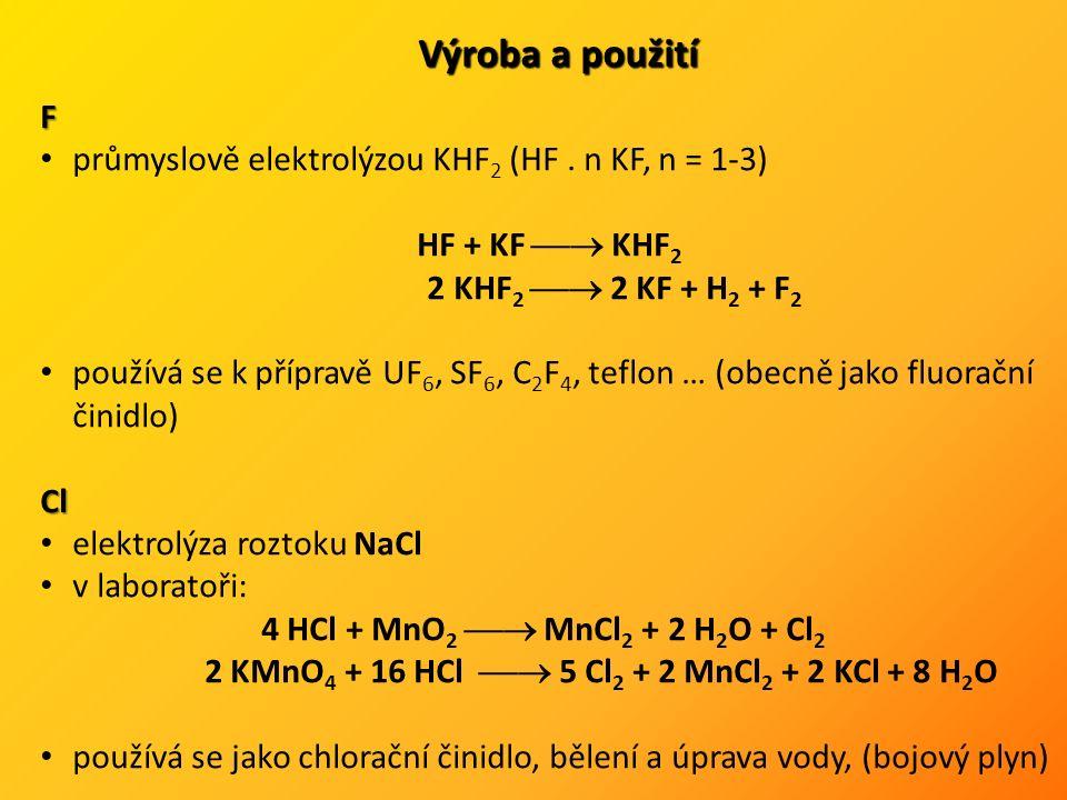 Br, I oxidace bromidů a jodidů (pomocí Cl 2, MnO 2, K 2 Cr 2 O 7 apod.) Cl 2 + Br -  Br 2 + 2 Cl - MnO 2 + 2 I - + 4 H 3 O +  I 2 + Mn 2+ + H 2 O Br se používá jako bromační činidlo a především ve sloučeninách I 2 - desinfekce, katalyzátor, radioaktivní tracer Sloučeniny halogenů Halogenvodíky bezbarvé, ostře páchnoucí, snadno zkapalnitelné plyny polarita a pevnost vazeb klesá od HF k HI (roste nestabilita – uvol.