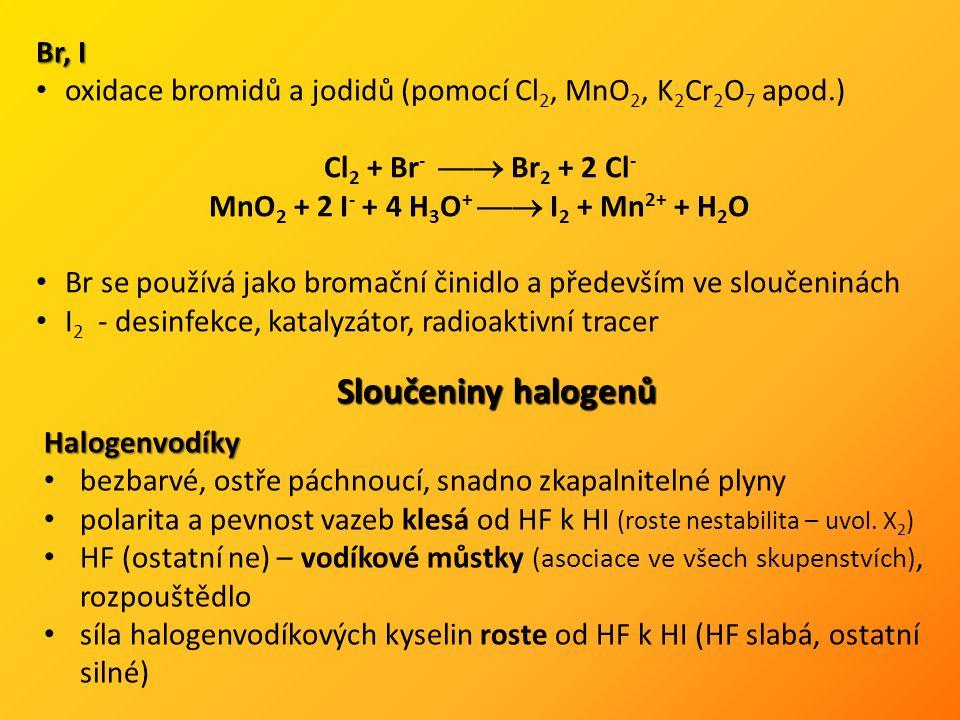 """příprava: CaF 2 + H 2 SO 4  2 HF + CaSO 4 PX 3 + 3 H 2 O  3 HX + H 3 PO 3Halogenidy binární sloučeniny s elektropozitivnějšími prvky fluoridy se odlišují (strukturou, charakterem vazby) různé vlastnosti – iontové, polymerní, molekulové """"pseudohalogenidy – polyatomické anionty chováním blízké halogenidům (CN -, SCN -, N 3 - ) různé metody přípravy: S + 3 F 2  SF 6 Zn + 2 HCl  ZnCl 2 + H 2 CaCO 3 + 2 HBr  CaBr 2 + CO 2 + H 2 O Pb(NO 3 ) 2 + 2 KI  PbI 2 (nerozp.) + 2 KNO 3 CrCl 3 + 3 HF  CrF 3 + 3 HCl Interhalogeny a jejich ionty (kationty i anionty) – Interhalogeny a jejich ionty (kationty i anionty) – XY, XY 3, XY 5 a XY 7"""