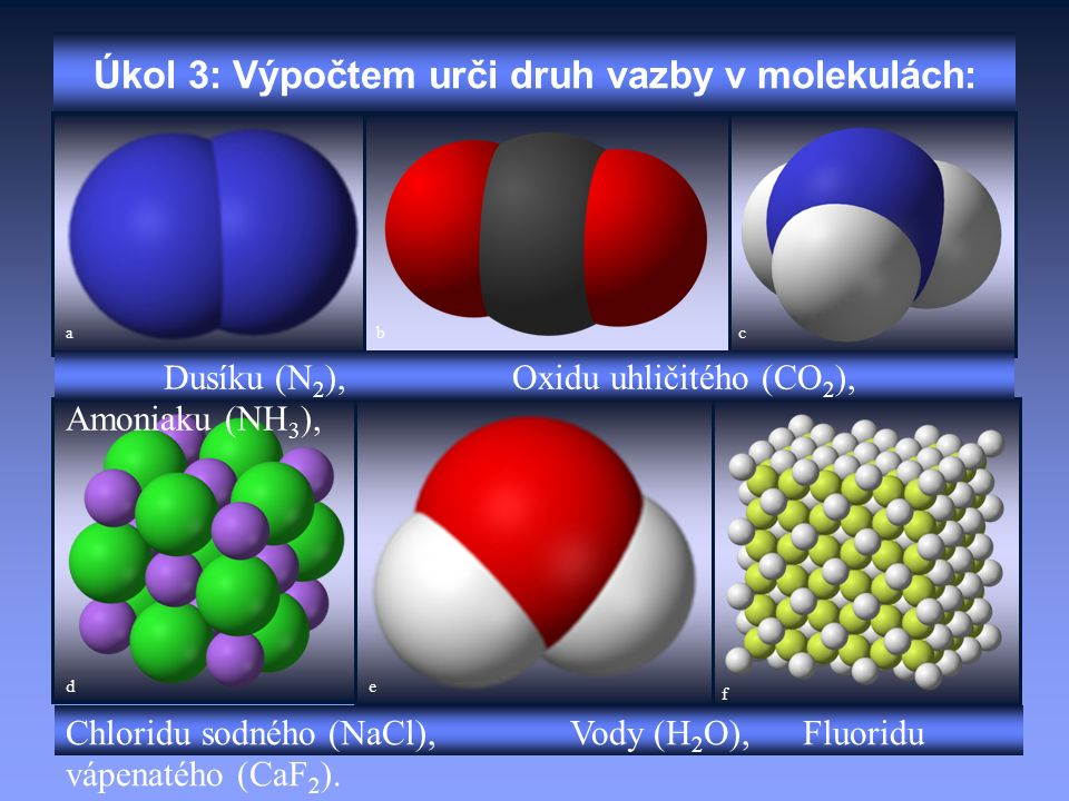 Úkol 3: Výpočtem urči druh vazby v molekulách: Dusíku (N 2 ), Oxidu uhličitého (CO 2 ), Amoniaku (NH 3 ), Chloridu sodného (NaCl), Vody (H 2 O), Fluor