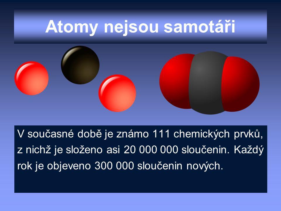 Atomy nejsou samotáři V současné době je známo 111 chemických prvků, z nichž je složeno asi 20 000 000 sloučenin. Každý rok je objeveno 300 000 slouče