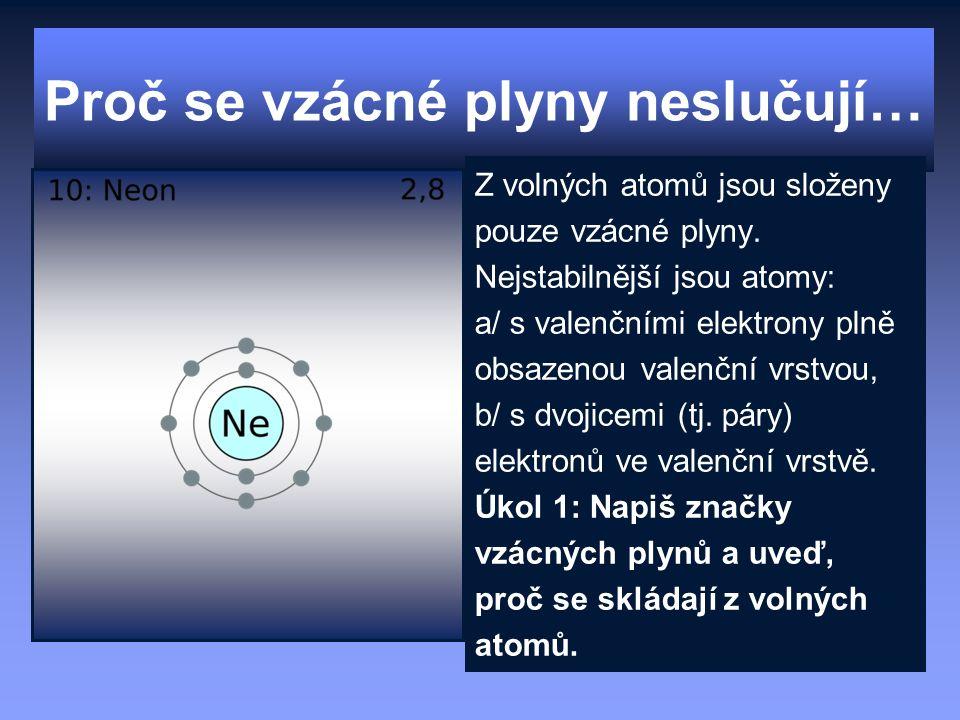 Proč se vzácné plyny neslučují… Z volných atomů jsou složeny pouze vzácné plyny. Nejstabilnější jsou atomy: a/ s valenčními elektrony plně obsazenou v