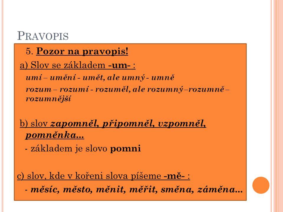 P RAVOPIS 5. Pozor na pravopis.
