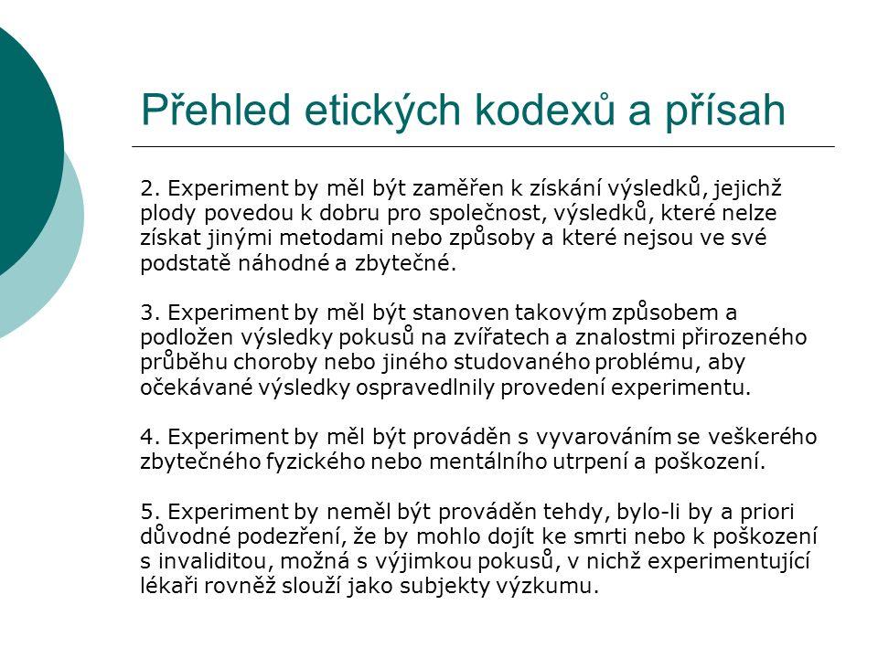 Přehled etických kodexů a přísah 2.