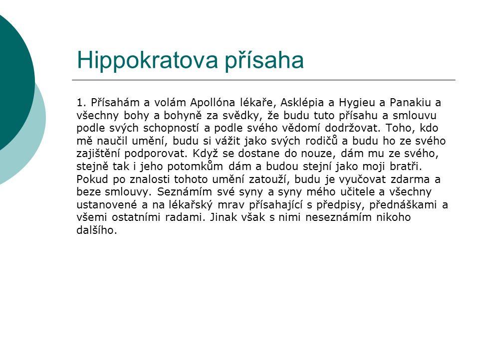 Hippokratova přísaha 1.