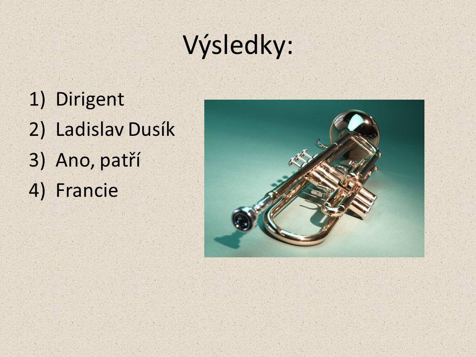 Výsledky: 1)Dirigent 2)Ladislav Dusík 3)Ano, patří 4)Francie