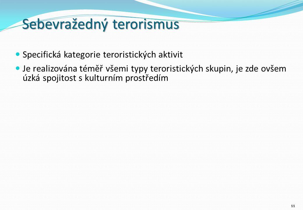 Sebevražedný terorismus Specifická kategorie teroristických aktivit Je realizována téměř všemi typy teroristických skupin, je zde ovšem úzká spojitost s kulturním prostředím 11