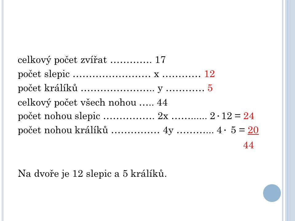 celkový počet zvířat …………. 17 počet slepic …………………… x ………… 12 počet králíků …………………..