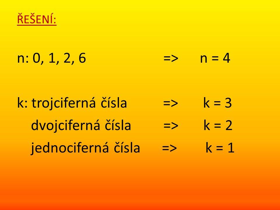 ŘEŠENÍ: n: 0, 1, 2, 6 => n = 4 k: trojciferná čísla => k = 3 dvojciferná čísla => k = 2 jednociferná čísla => k = 1