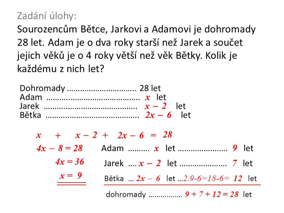 x Zadání úlohy: Sourozencům Bětce, Jarkovi a Adamovi je dohromady 28 let. Adam je o dva roky starší než Jarek a součet jejich věků je o 4 roky větší n