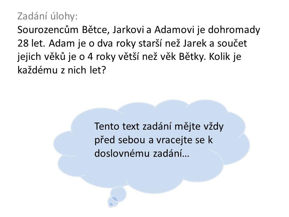 x Zadání úlohy: Sourozencům Bětce, Jarkovi a Adamovi je dohromady 28 let.