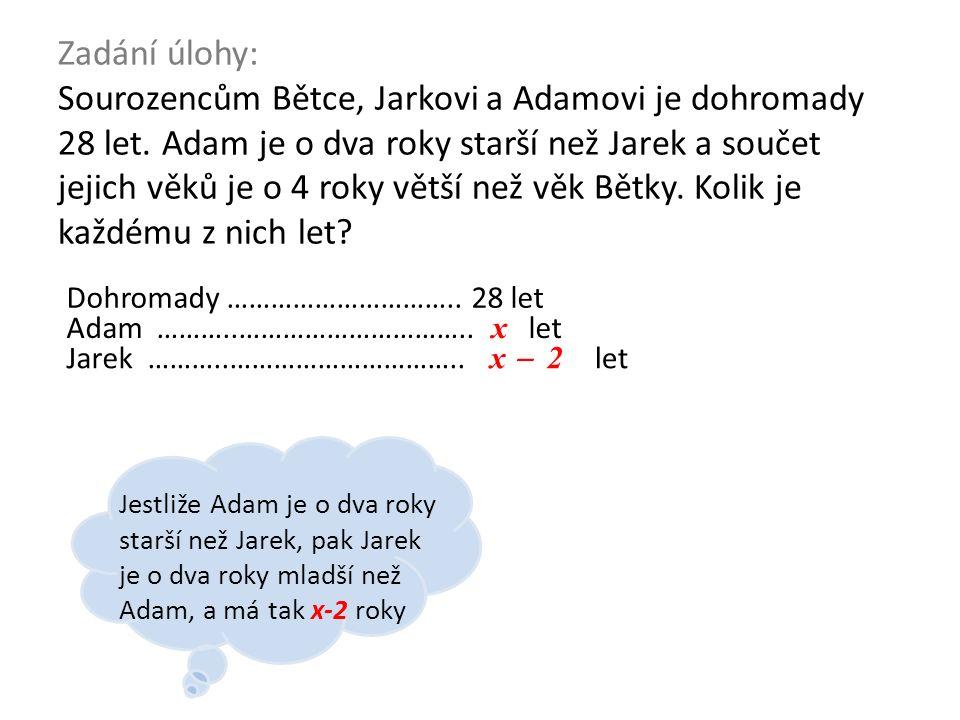 Zadání úlohy: Sourozencům Bětce, Jarkovi a Adamovi je dohromady 28 let. Adam je o dva roky starší než Jarek a součet jejich věků je o 4 roky větší než