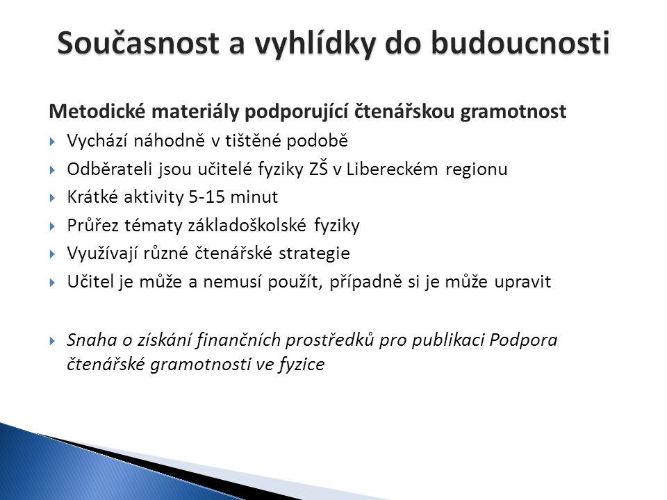 Metodické materiály podporující čtenářskou gramotnost  Vychází náhodně v tištěné podobě  Odběrateli jsou učitelé fyziky ZŠ v Libereckém regionu  Kr