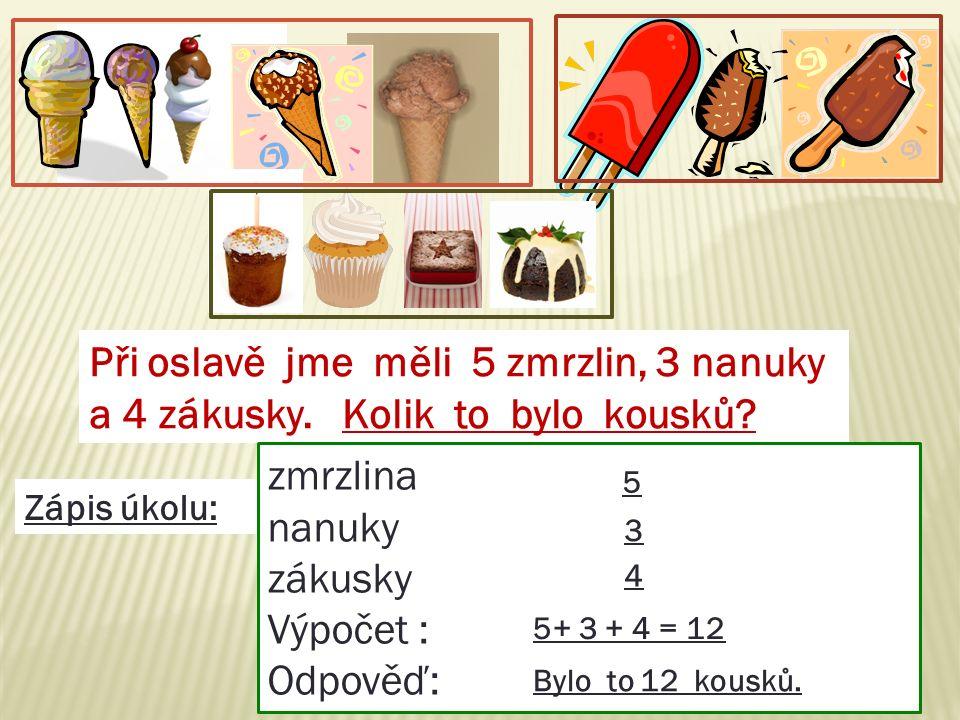 Při oslavě jme měli 5 zmrzlin, 3 nanuky a 4 zákusky.