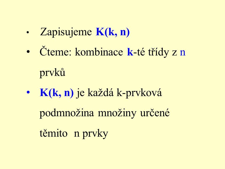 Zapisujeme K(k, n) Čteme: kombinace k-té třídy z n prvků K(k, n) je každá k-prvková podmnožina množiny určené těmito n prvky