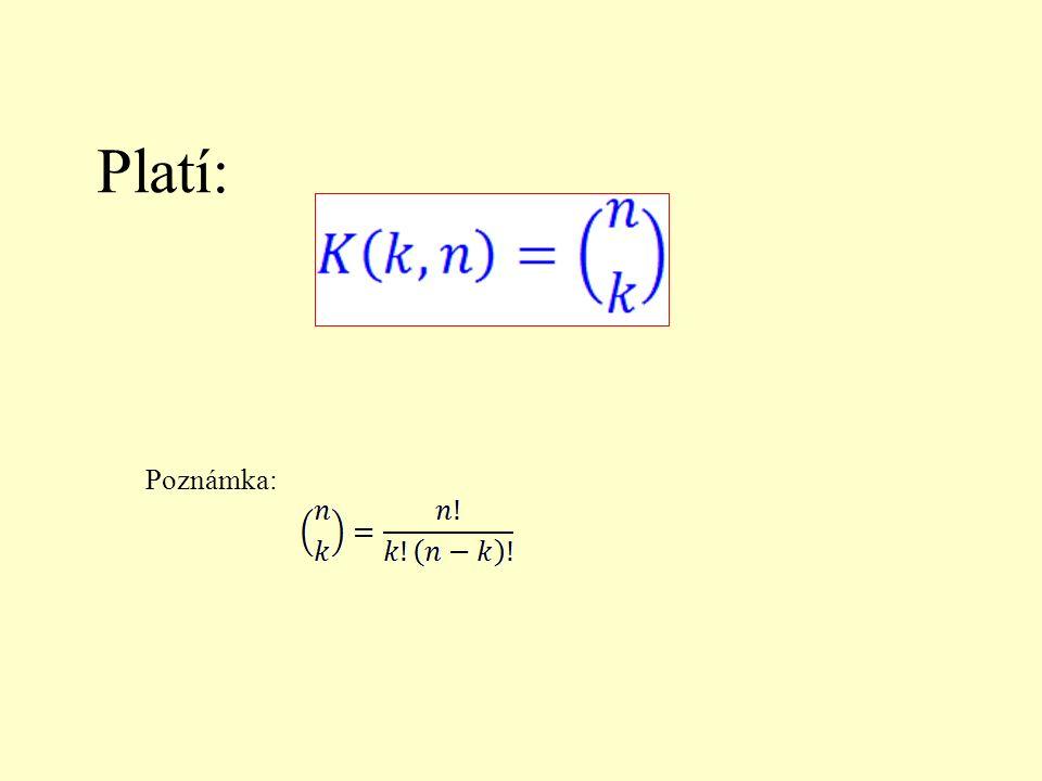 Příklad: Vypočítej počet kombinací třetí třídy z pěti prvků