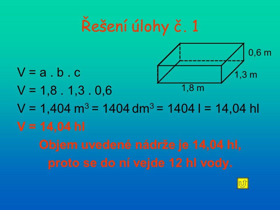 V = a. b. c V = 1,8. 1,3. 0,6 V = 1,404 m 3 = 1404 dm 3 = 1404 l = 14,04 hl V = 14,04 hl Objem uvedené nádrže je 14,04 hl, proto se do ní vejde 12 hl