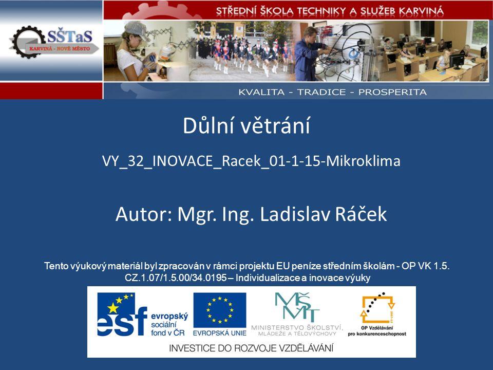 Důlní větrání VY_32_INOVACE_Racek_01-1-15-Mikroklima Tento výukový materiál byl zpracován v rámci projektu EU peníze středním školám - OP VK 1.5.