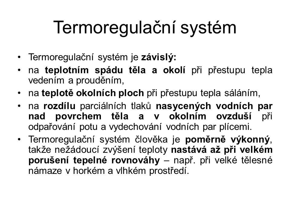 Termoregulační systém Termoregulační systém je závislý: na teplotním spádu těla a okolí při přestupu tepla vedením a prouděním, na teplotě okolních ploch při přestupu tepla sáláním, na rozdílu parciálních tlaků nasycených vodních par nad povrchem těla a v okolním ovzduší při odpařování potu a vydechování vodních par plícemi.