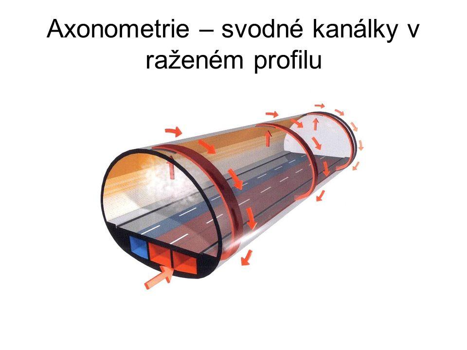 Axonometrie – svodné kanálky v raženém profilu