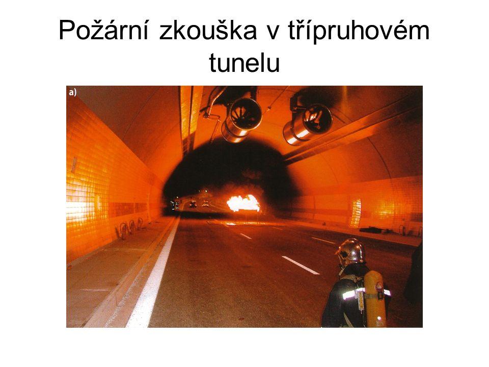 Požární zkouška v třípruhovém tunelu
