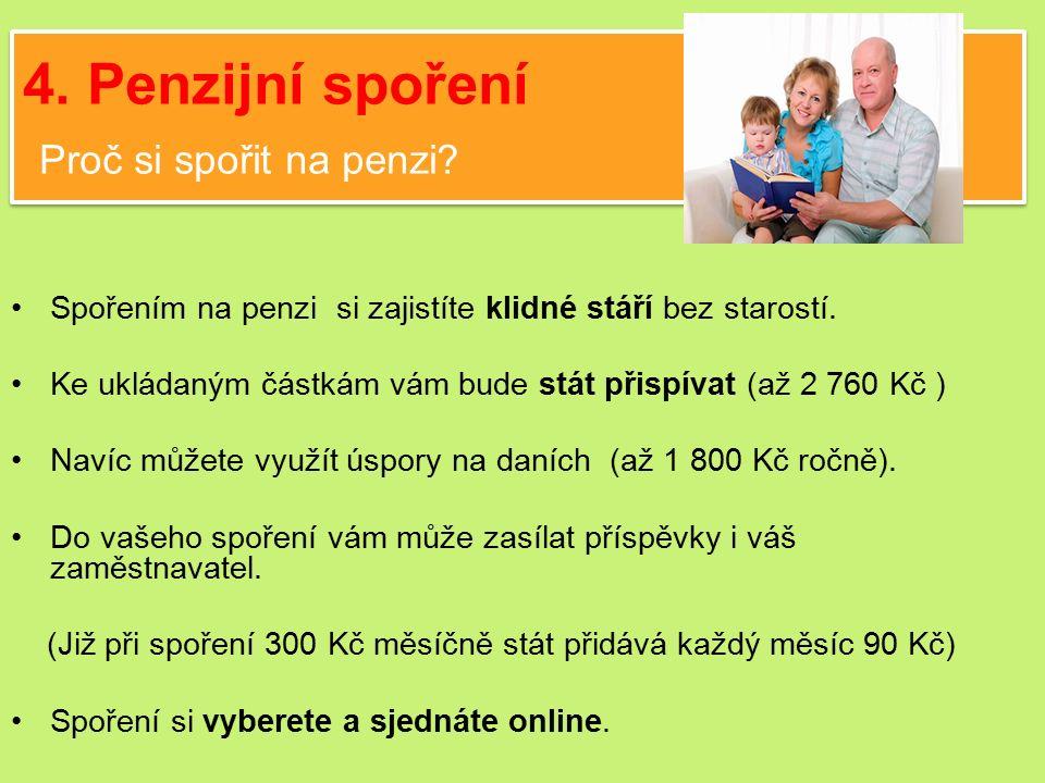 4. Penzijní spoření Proč si spořit na penzi.