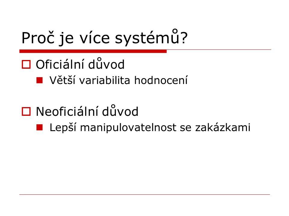 Proč je více systémů?  Oficiální důvod Větší variabilita hodnocení  Neoficiální důvod Lepší manipulovatelnost se zakázkami