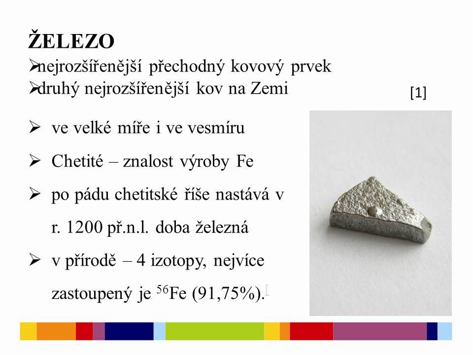 ŽELEZO  nejrozšířenější přechodný kovový prvek  druhý nejrozšířenější kov na Zemi [1]  ve velké míře i ve vesmíru  Chetité – znalost výroby Fe  po pádu chetitské říše nastává v r.