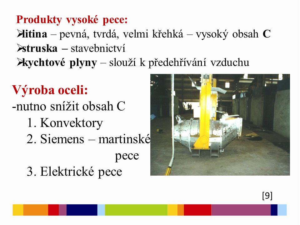 Výroba oceli: -nutno snížit obsah C 1. Konvektory 2. Siemens – martinské pece 3. Elektrické pece Produkty vysoké pece:  litina – pevná, tvrdá, velmi