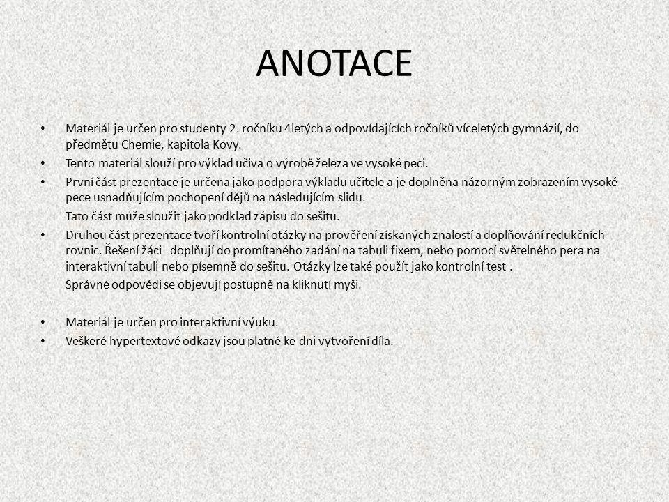 ANOTACE Materiál je určen pro studenty 2.