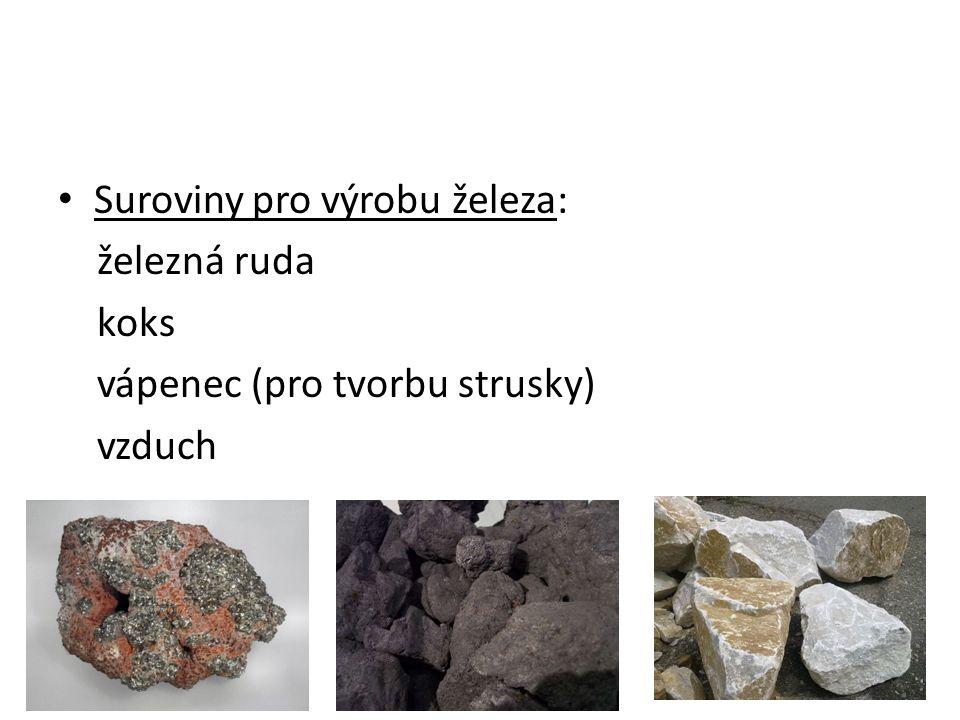 Postup výroby železa: 1.) spalování koksu (1700-2000 0 C) C + O 2 CO 2 CO 2 + C 2CO Ruda se roztaví a vznikne tekutá struska (z hlušiny a vápence).