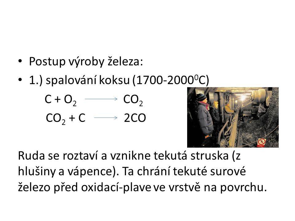 Postup výroby železa: 1.) spalování koksu (1700-2000 0 C) C + O 2 CO 2 CO 2 + C 2CO Ruda se roztaví a vznikne tekutá struska (z hlušiny a vápence). Ta