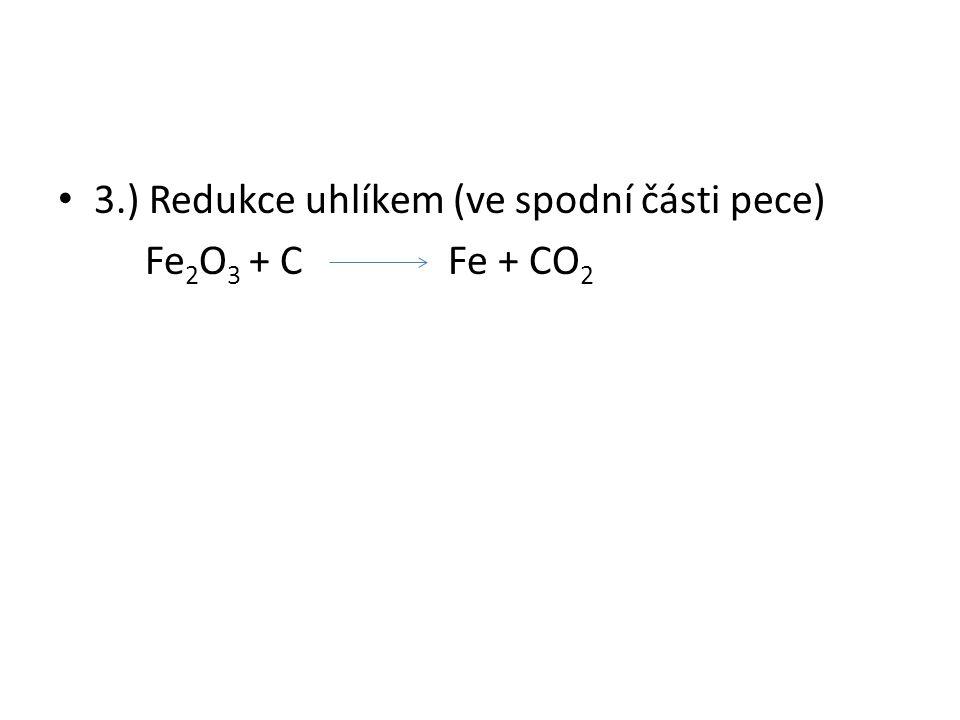 3.) Redukce uhlíkem (ve spodní části pece) Fe 2 O 3 + C Fe + CO 2