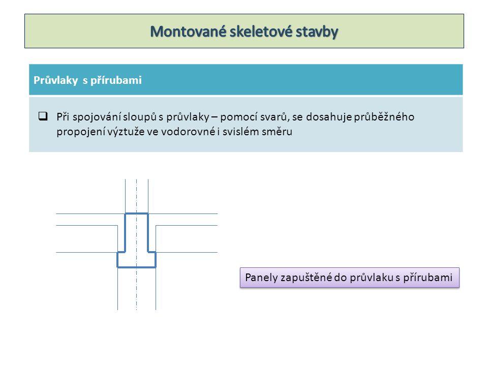 Průvlaky s přírubami  Při spojování sloupů s průvlaky – pomocí svarů, se dosahuje průběžného propojení výztuže ve vodorovné i svislém směru Panely zapuštěné do průvlaku s přírubami